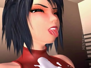 Chesty 3D hentai hoe gets ass fucked