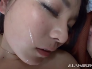 Japanese skank gets fucked and facialed and enjoys it much