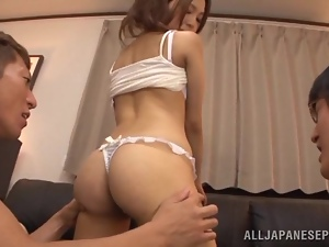 Yukina Momota sucks dicks and gets nailed in a threesome