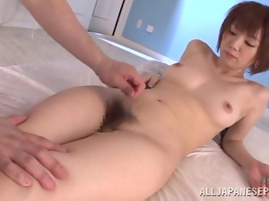 Playful Japanese redhead loves jumping on him