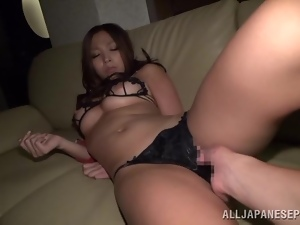 Japanese bombshell gets her vag fingered and slammed doggy style
