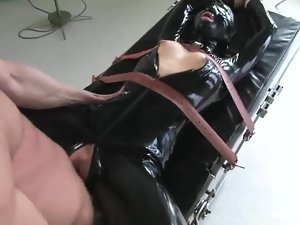 Naughty blonde in latex bodysuit gets fucked in mouth and pussy