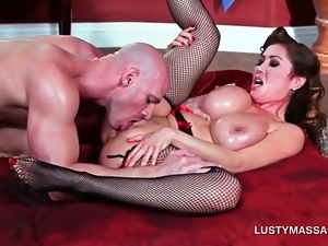 Nasty masseur licking pink juicy cunt in close-up