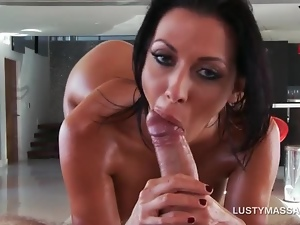 Brunette bitch cant stop from fucking her masseur