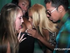 Orgy hookers take turns in blowing horny dicks