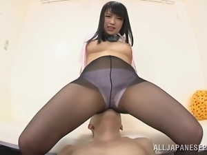 Oral games with Yuri Sato through her nylons