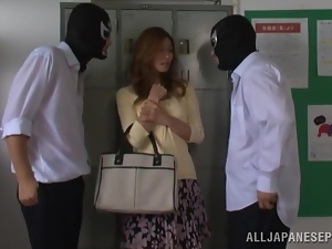 Akari Asahina gets fucked by two guys in masks