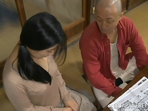 Slim and pretty Japanese girl gets pounded on the floor