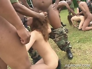 Asian blowjobs in gangbang with sex slave