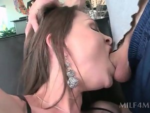 Dirty MILF dildo fucking her pussy and giving blowjob