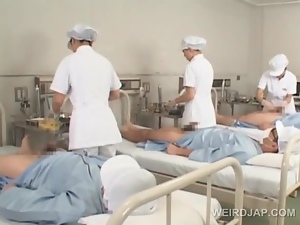 Asian nurses slurping cum out of loaded shafts in group