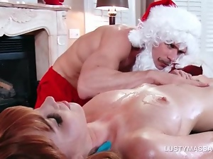 Masseur dressed as Santa vibing clit and fingering pussy