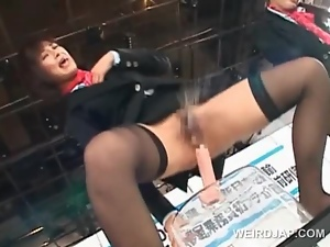 Stockinged asian models sucking dildos in a sex contest