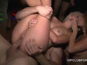 VIP orgy blonde snatch fucked hardcore in group sex
