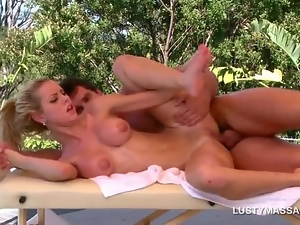 Busty blonde pussy and ass nailed by hot masseur