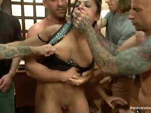 Sexy Beretta James gets gangbanged and creampied