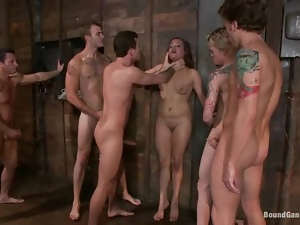 Hot bitch gets fucked by a group of men and enjoys jizz on her eyes