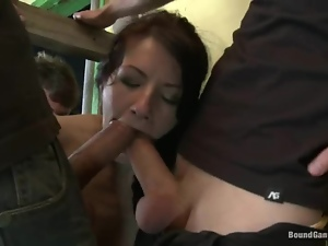 Hot girl blows big hard dicks and double penetrated