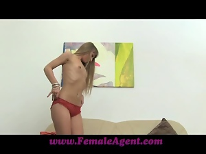Long haired blonde girl undresses and has rough sex