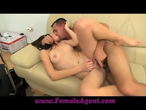 Sexy brown-haired girl gets pounded hard on a sofa