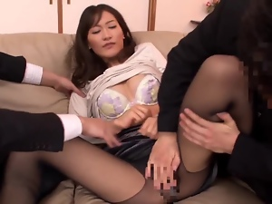 Japanese hottie gets her pussy explored and fucked by two guys