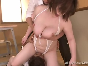 Chubby Japanese milf moans in pleasure during a hot MMF threesome