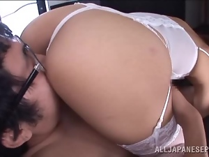 Teasing Japanese Beauty Ria Horisaki in Sexy White Lingerie Blowjobs