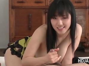 Voluptuous asian brunette sucking hungry dick in POV