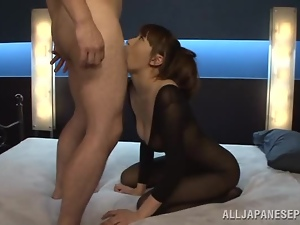A pretty foot loving Japanese doll lays into her man