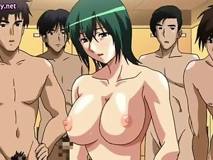 Anime slut gets jizz on her boobs