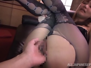 Honey in nylons is getting it from behind