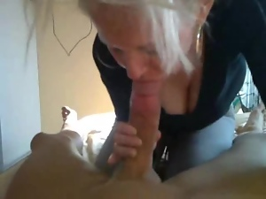 wild blonde sucking her cock