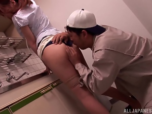 Asian mature mama gives on hell of a blowjob