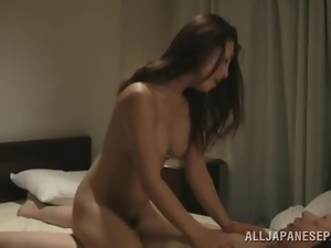 Beautiful Japanese chick gets her vag destroyed by two men