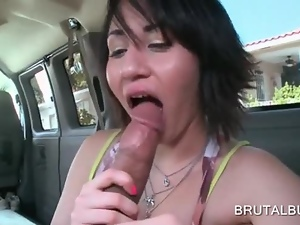 Teen babe filling her mouth with a huge cock in bus