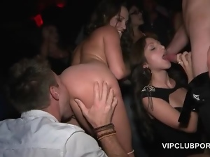 Sex addict babes blowing shafts and licking tits in the VIP