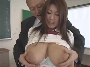 Busty Japanese student gets stunningly fucked in a classroom