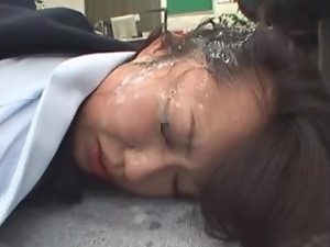 Stunning Japanese girl gets fucked and jizzed on her head