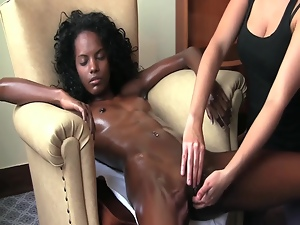 Sleeping ebony chick gets her poontang fingered indoors