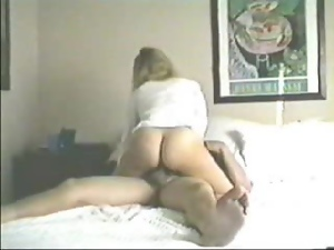 Busty and sexy blondie is riding a hard cock on a spy cam