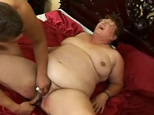 Nasty BBW Grandma Fucks this poor guy for cash