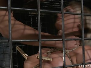 Hot BDSM video with sexy Pearl Diamond getting toyed and fucked