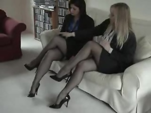 Two cute chicks show off their beautiful legs in hot vintage clip