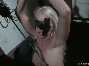 Sexy Valerie Follass gets fucked in both holes in BDSM vid