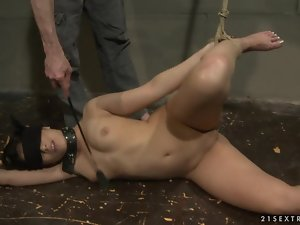 Naomie the pretty brunette is a submissive sex slave