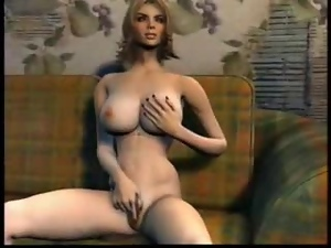 Busty 3D blonde gets her juicy cunt fucked from behind