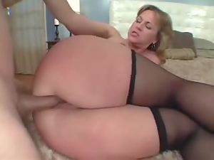 Big-assed mature blonde gets her butt fucked every which way