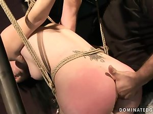 Chanel the tied up brunette chick gets fucked hard