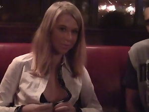 Tits show and blowjob in a cafe