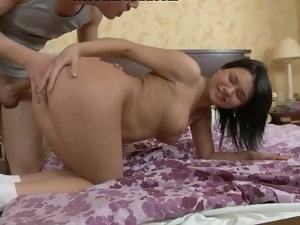 Excited brunette doesnтАЩt mind getting her first anal sex